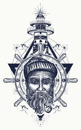 Oude matroos, anker, stuurwiel, kompas, vuurtoren, tattoo art. Symbool van maritiem avontuur, toerisme, reizen. Oud anker, zeewolf en vuurtoren t-shirt ontwerp Stock Illustratie