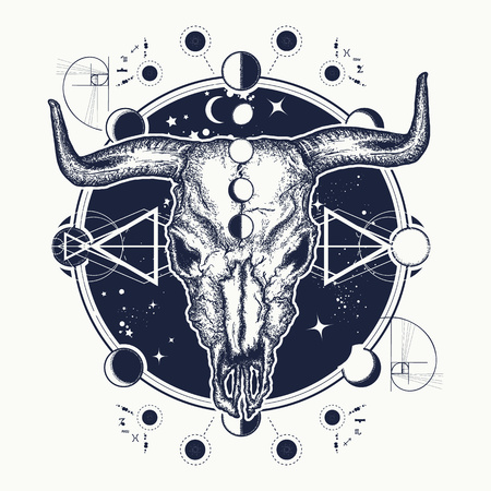 Bison skull tattoo. Native American bull skull symbol of secret knowledge, Shamanism. Soul of prairies against  of the Universe tattoo and t-shirt design