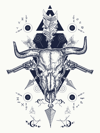 Wild west tattoo, Bison skull, crossed revolvers, arrows. Symbol of a western, wild West, crime. Wanted t-shirt design