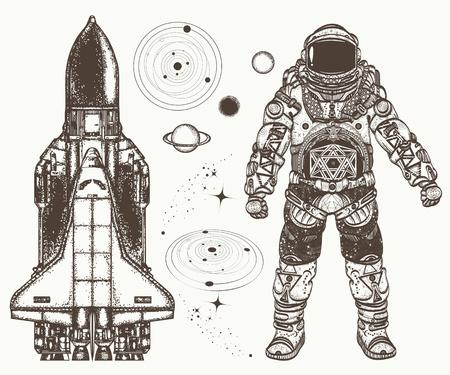 Arte Del Tatuaje Del Transbordador Espacial. Símbolo De La ...