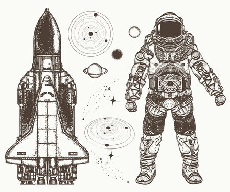 Space hand drawn collection. Astronaut, spaceship, solar system, planets.Astronaut and space shuttle tattoo and t-shirt design Ilustração