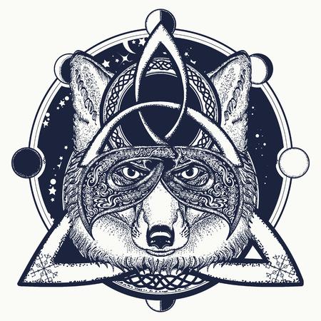 폭스 바이킹 문신과 티셔츠 디자인. 폭스 셀틱 스타일의 바이킹, 문신 예술. 북쪽 귀영 나팔 동물