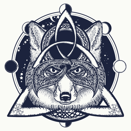 Fox viking tattoo and t-shirt design. Fox viking in the celtic style, tattoo art.  North tattoo animals