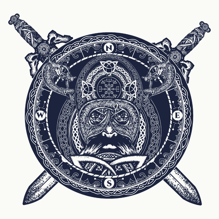 Viking and crossed swords tattoo, ring with scandinavian ornament. Viking warrior head t-shirt design. Celtic amulet forces tattoo. Compass, dragons, ethnic style
