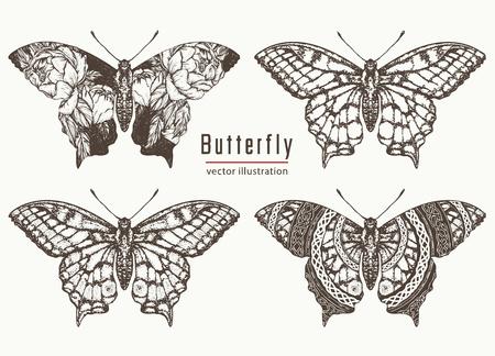 Butterfly hand getrokken collectie. Realistisch vlindertattoo en t-shirtontwerp. Mooi ontwerp van de Swallowtail boho t-shirt. Mystiek esoterisch symbool van vrijheid, reizen, toerisme Stock Illustratie