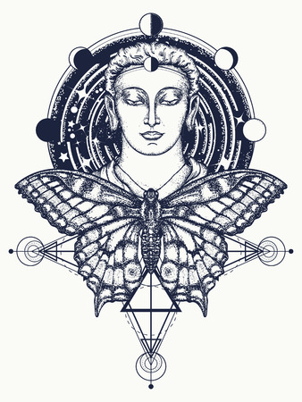 Buddha and butterfly tattoo. Buddha face tattoo art. Symbol of immortality, enlightenment, religion, magic. Space god Buddha and butterfly in deep space t-shirt design.