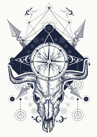 Skull bull tattoo en t-shirt ontwerp. Wilde westenkunst, bizonschedel, kompas, gekruiste pijlen. Symbool van het westen, het wilde westen, criminaliteit, buitenshuis. Cowboy t-shirt ontwerp Stock Illustratie