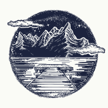 Mountains landscape tattoo and t-shirt design. Mystical symbol of tourism, dream, camping, travel. Night mountain lake tattoo and t-shirt design. Pier on lake Stock Illustratie
