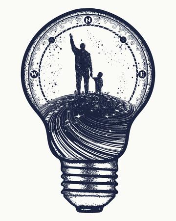 電球、シュールで父と子はタトゥー アートです。未来の幸せな家族。父は、息子に夢を生活教育を教えています。ライフ t シャツ デザインの不滅