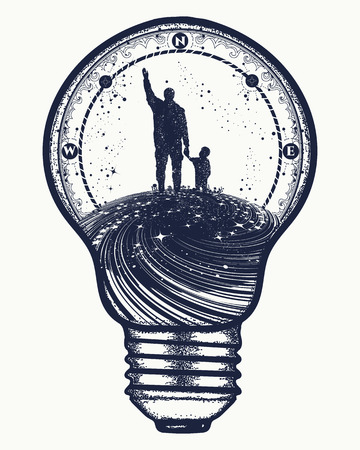Father and son in lightbulb, surreal tattoo art. Happy family of the future. Father teaches son to dream, life education. Immortality of human life t-shirt design Çizim