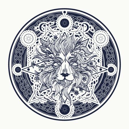 중세 사자 귀영 나팔 및 t- 셔츠 디자인. 장식용 문신 라이온 머리입니다. 연금술, 종교, 영성, 신비주의, 문신 사자 예술, 색칠하기 책. 신비주의 사자
