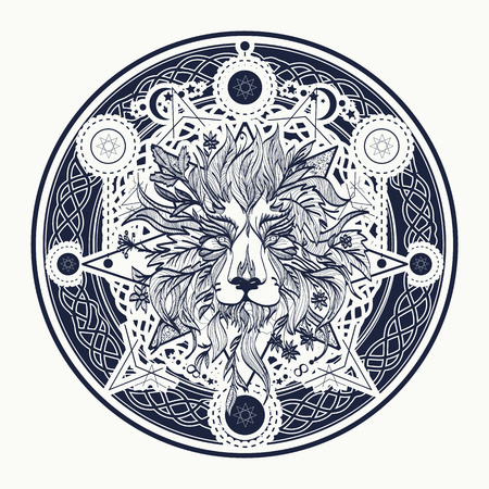 Medieval lion tattoo and t-shirt design. Ornamental Tattoo Lion Head. Alchemy, religion, spirituality, occultism, tattoo lion art, coloring books. Mystic Lion sketch tattoo art Illustration