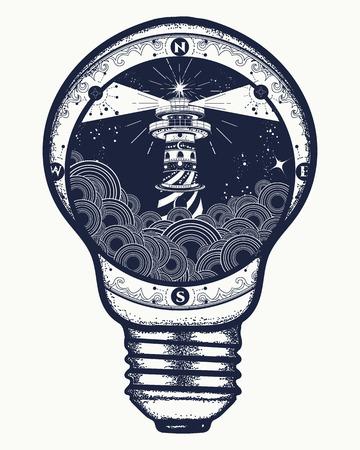 전구, 초현실적 인 문신과 t- 셔츠 디자인에 등 대. 폭풍우 날씨 절벽에 등 대 문신, 등 대와 장미 나침반 t- 셔츠 디자인. 명상, 하이킹, 모험의 상징