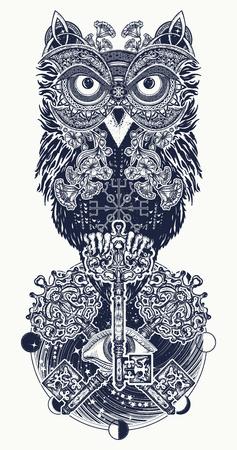 올빼미 문신 및 t- 셔츠 디자인. 올빼미, 빈티지 교차 키 및 민족적인 켈트 스타일 t- 셔츠 디자인에 모든 보는 눈. 지혜, 명상, 생각, 신비의 올빼미 문신 일러스트