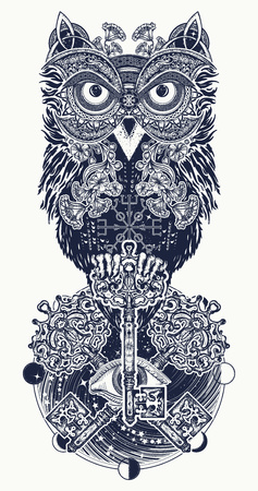 Owl tattoo and t-shirt design. Owl, vintage crossed keys and all seeing eye in ethnic celtic style t-shirt design. Owl tattoo symbol of wisdom, meditation, thinking, mystic
