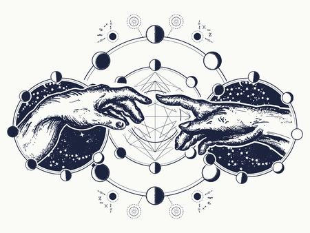 Hands tattoo Renaissance. symbol of spirituality, religion, connection and interaction.  Michelangelo God's touch. Human hands touching with fingers tattoo and t-shirt design Vettoriali