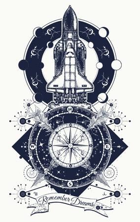 Space shuttle, kompas en gekruiste pijlen tatoeage kunst. Symbool van ruimteonderzoek, vlucht naar nieuwe sterrenstelsels, toerisme, avontuur, reizen. Ruimtependel die op het ontwerp van de opdrachtst-shirt van start gaat