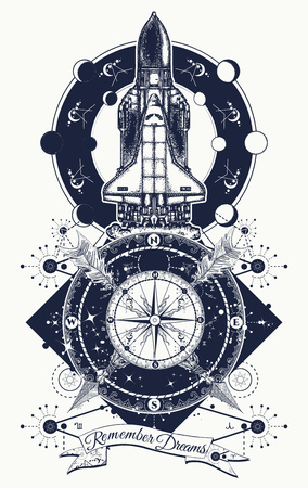 Space shuttle, compass and crossed arrows tattoo art. Symbol of space research, flight to new galaxies, tourism, adventure, travel. Space shuttle taking off on mission t-shirt design