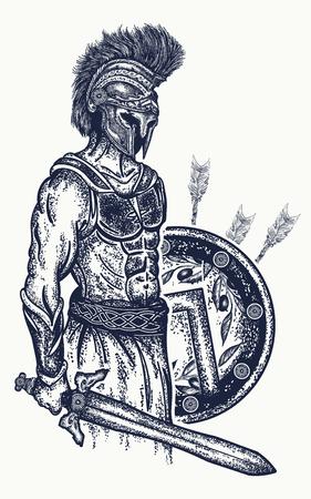 Warrior-tatoeage en t-shirtontwerp. Gladiator Spartaanse krijger met zwaard en schild tattoo art. Symbool van dapperheid, geweld, leger. Legioensoldaat van het oude Rome en het oude Griekenland