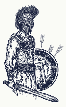 Warrior tattoo and t-shirt design. Gladiator spartan warrior holding sword and shield tattoo art. Symbol of bravery, force, army. Legionary of ancient Rome and ancient Greece