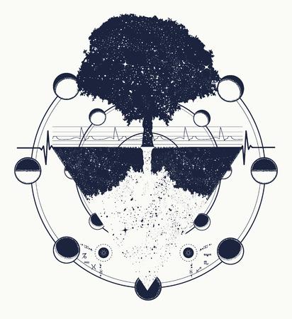 Árbol de arte del tatuaje de la vida, estilo geométrico, símbolo tribal místico. Futuro y el pasado, símbolo de la vida y la muerte, estilo mágico del árbol del tatuaje del boho. Diseño mágico de la camiseta del árbol Ilustración de vector