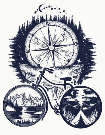 Bicycle and mountains tattoo art. Symbol of travel, tourism, adventure. Compass and mountains in bicycle wheels t-shirt design Ilustrace