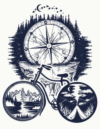 Fiets- en bergtattoo-kunst. Symbool van reizen, toerisme, avontuur. Kompas en bergen in fietswielen t-shirt ontwerp Stock Illustratie