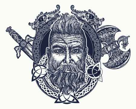 Viking tattoo, Symbol of force, courage. Scandinavian mythology, viking art print t-shirt design. Bearded barbarian of Scandinavia, crossed swords, pole-axe, god Odin