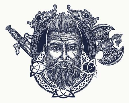 Tatuaggio vichingo, simbolo di forza, coraggio. Mitologia scandinava, design t-shirt con stampa d'arte viking. Barbaro barbuto della Scandinavia, spada incrociata, ascia del palo, dio Odino Archivio Fotografico - 84281651