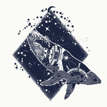 고래 이중 노출 초현실적 인 문신입니다. 여행, 모험, 야외 기호 고래 두 번 노출 동물 t- 셔츠 디자인. 스티어링 휠 등대, 폭풍