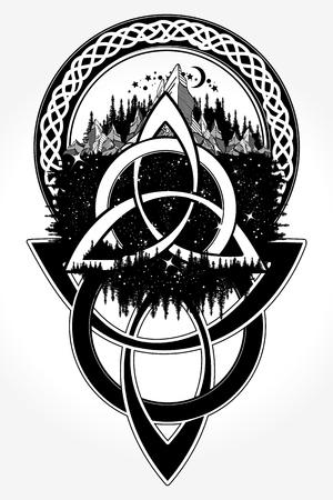 켈트 귀영 나팔 및 t- 셔츠 디자인. 셀틱 매듭 문신. 산, 숲, 기호 여행, 대칭, 관광 t- 셔츠 디자인. 민족 스타일의 켈트 문신 일러스트