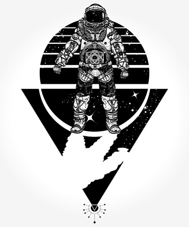 Cosmonaut in deep space style 向量圖像