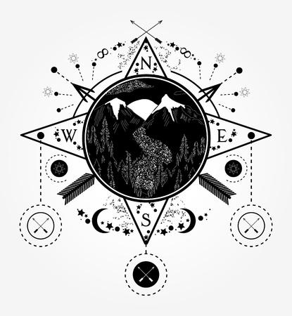 Bergen tattoo en t-shirt ontwerp. Berg windroos kompas tattoo art. Reizen, avontuur, buitenshuis, meditatiesymbool. Weg in de bergen. Tatoeage voor kamperen, volgen en wandelen Stock Illustratie