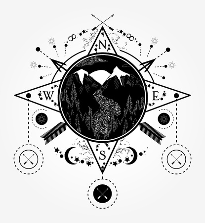 Mountains tattoo and t-shirt design. Mountain wind rose compass tattoo art. Travel, adventure, outdoors, meditation symbol. Road in the mountains. Tattoo for camping, tracking and hiking