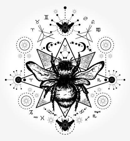 Hand drawn sketch of a bumblebee