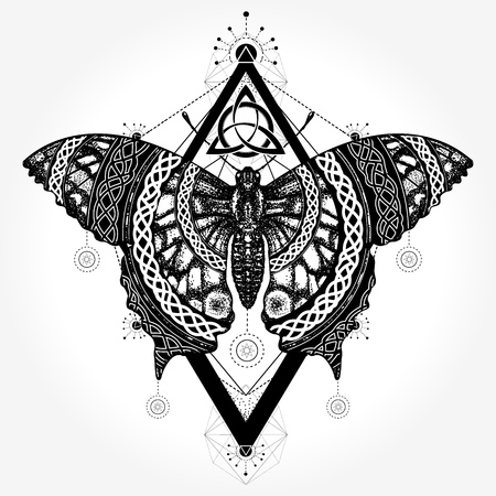Butterfly tattoo and t-shirt design Ilustracja