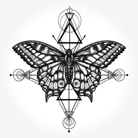 Butterfly tattoo, geometrical style Ilustração