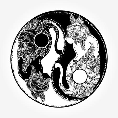 猫の陰陽タトゥーのベクトル