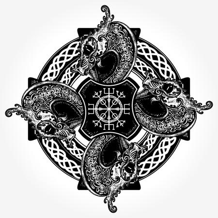 Diseño del tatuaje y la camiseta de concepto celta Ilustración de vector