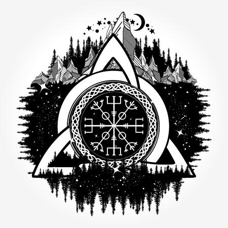 Estilo céltico del boho del tatuaje, diseño de la camiseta Ilustración de vector