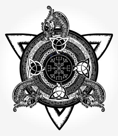 Diseño del arte y la camiseta de tatuaje cruzado celta Foto de archivo - 84740530