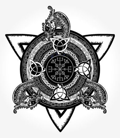 Celtic cross tattoo art and t-shirt design Illustration