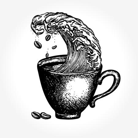 Tormenta en una taza de café, gráfico surrealista Ilustración de vector