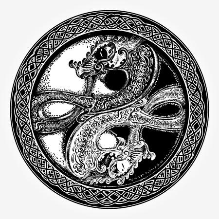 陰陽 t シャツ デザインの黒と白のドラゴン