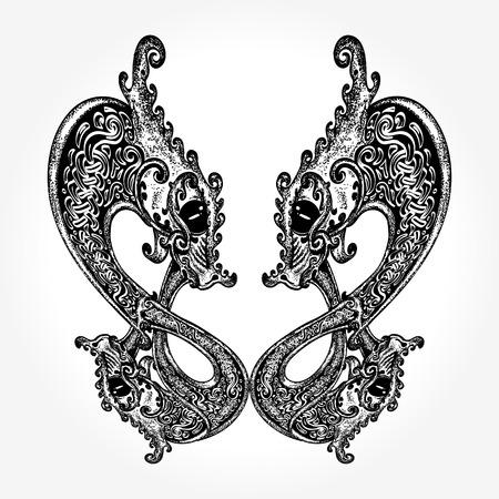 Twee draken Keltische tattoo
