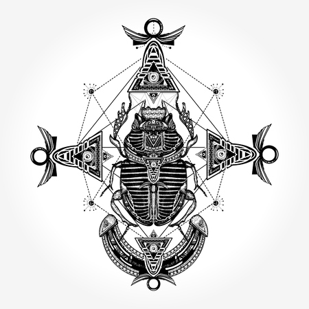 Tatuaggio dell'antico vettore Egitto Archivio Fotografico - 84740527