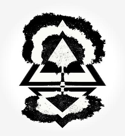 Magische boom tattoo voor t-shirt ontwerp Stock Illustratie