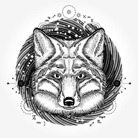 Fox tattoo vector design