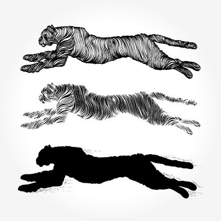 Dieren collectie van tatoeages en t-shirt ontwerp Stock Illustratie