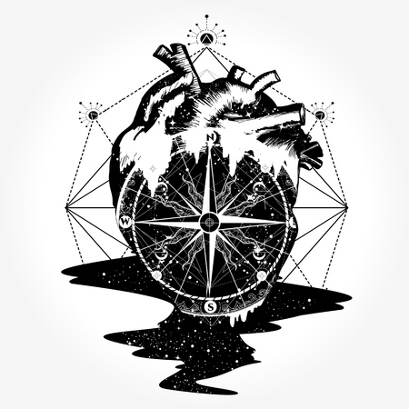 Kompas in het hart steampunk tattoo, geometrische stijl